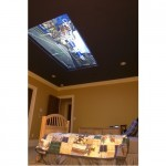 100-inch screen mounted flush in the ceiling
