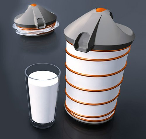 Shrinking jug keeps milk fresh longer