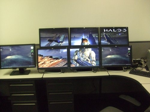 HP USB Graphics Adapter Halo Background across multiple monitors