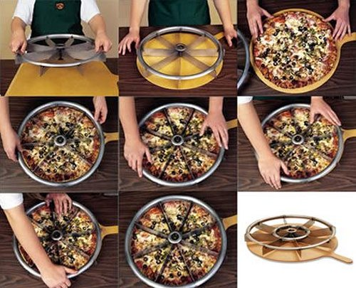 Multi-blade pizza slicer makes every slice perfect