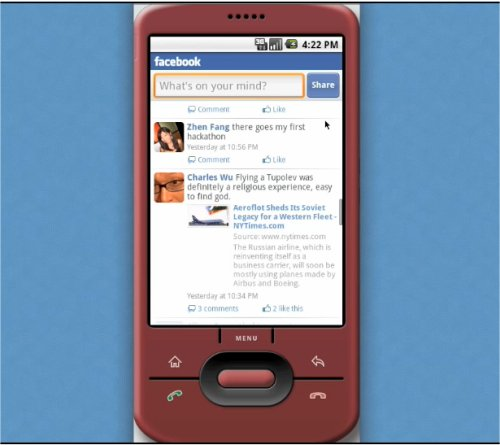 Facebook now available for Google Android