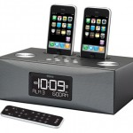 iP88 alarm clock docks and charges two iPhones