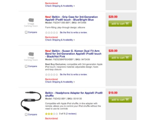 Best Buy has early iPod touch 3rd gen accessories