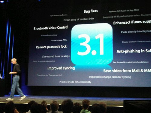 Steve Jobs announces iPhone OS 3.1