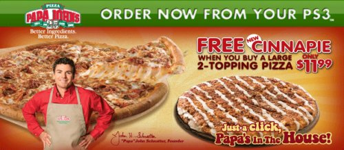Order Papa Johns Pizza from your PS3