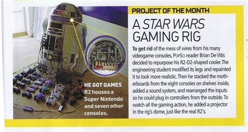 R2-D2 Gaming Rig holds 8 game consoles and a projector