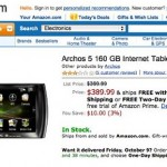 Archos 5 Tablet with Android now available from Amazon
