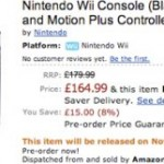 Black Nintendo Wii bundle on Amazon UK, £164.99