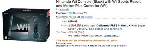 Black Nintendo Wii bundle on Amazon UK, £164.99