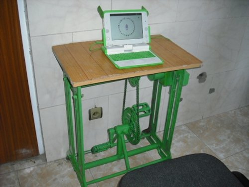 Pedal-powered OLPC XO laptop