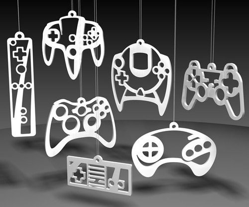 Geeky video game controller ornaments