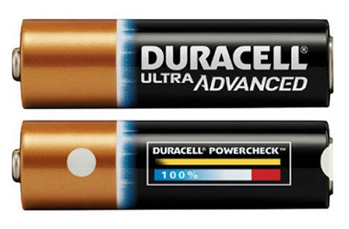 Duracell batteries with new gauge that shows power levels