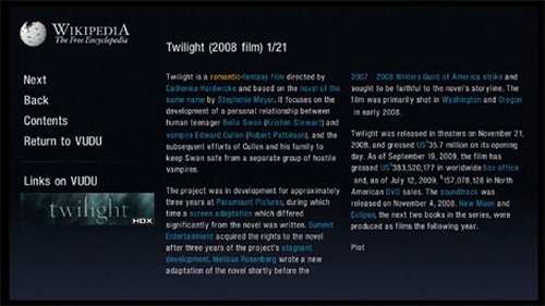 Vudu integrates Wikipedia
