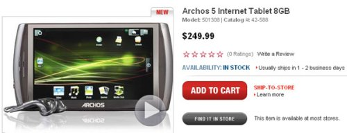 Archos 5 Android 8GB surfaces for $250