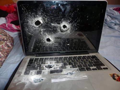 MacBook makes a run for the border, gets shot