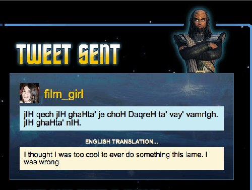 Translate tweets to Klingon