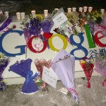 Chinese citizens hold memorial for Google, place flowers on its logo
