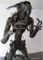 Alien sculpture made from 1,200 lbs of motorcycle steel