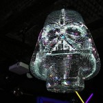 Darth Vader disco ball hovers over nerds who can't dance