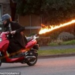 Flamethrowing scooter fries tailgaters