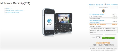 Motorola Backflip available for sale with AT&T
