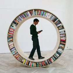 Circular walking bookshelf for literary human hamsters
