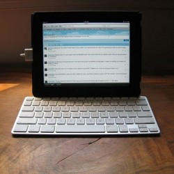 Use your iPad in landscape orientation with the keyboard dock
