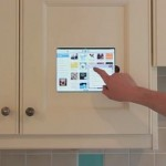 iPad in a kitchen cabinet