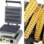Waffle maker puts waffles on a stick