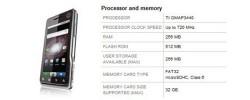 Milestone XT720 specs get changed again, less RAM