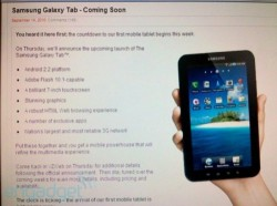 Verizon to launch Samsung Galaxy Tab on Thursday?