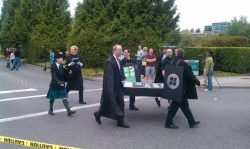 Microsoft Employees hold iPhone and Blackberry funerals