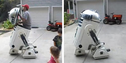Awesome R2D2 DIY robot holds a geek and moves around
