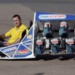 DIY mini dragster powered by six circular saws