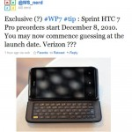 Sprint taking pre-orders for HTC 7 Pro December 8th?