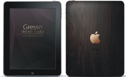 Gresso iPad with gold logo, African Blackwood case