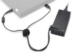 Lenovo 65W AC Adapter charges your laptop and provides extra USB ports
