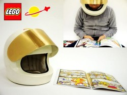 Lego helmet reads comics for you