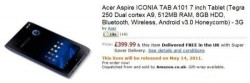 Acer Iconia Tab A100 up for pre-order on Amazon UK for £400