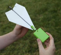 Paper airplane with an electric motor