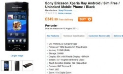 Sony Ericsson's Xperia ray available for UK pre-order