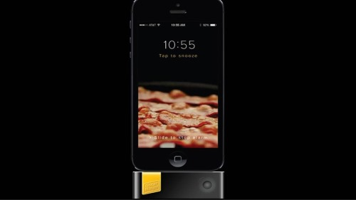 iPhone with Bacon Alarm