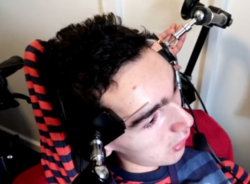 Disabled man plays video games using eyebrows