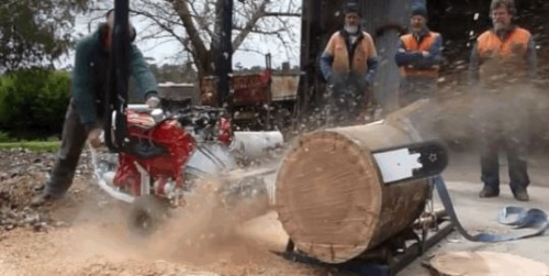 Chainsaw powered by V8 car engine.